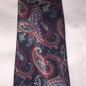 Men's Paisley Black Teal burgundy Tie